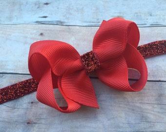 Red baby headband - red bow headband, red headband, baby headband, Valentine's Day headband, Christmas headband, baby bows, newborn headband
