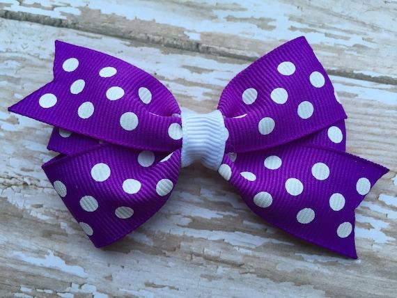 Purple & white polka dot  bow - purple polka dot hair bow, 3 inch purple bow, girls hair bows, girls bows, toddler bows, purple hair bows