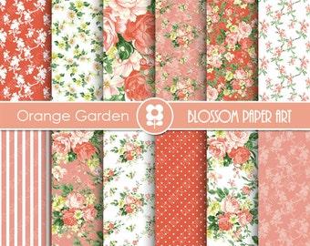 Floral Digital Paper Pack, Orange Floral Digital Papers, Digital Scrapbooking Pack - Roses - 1927