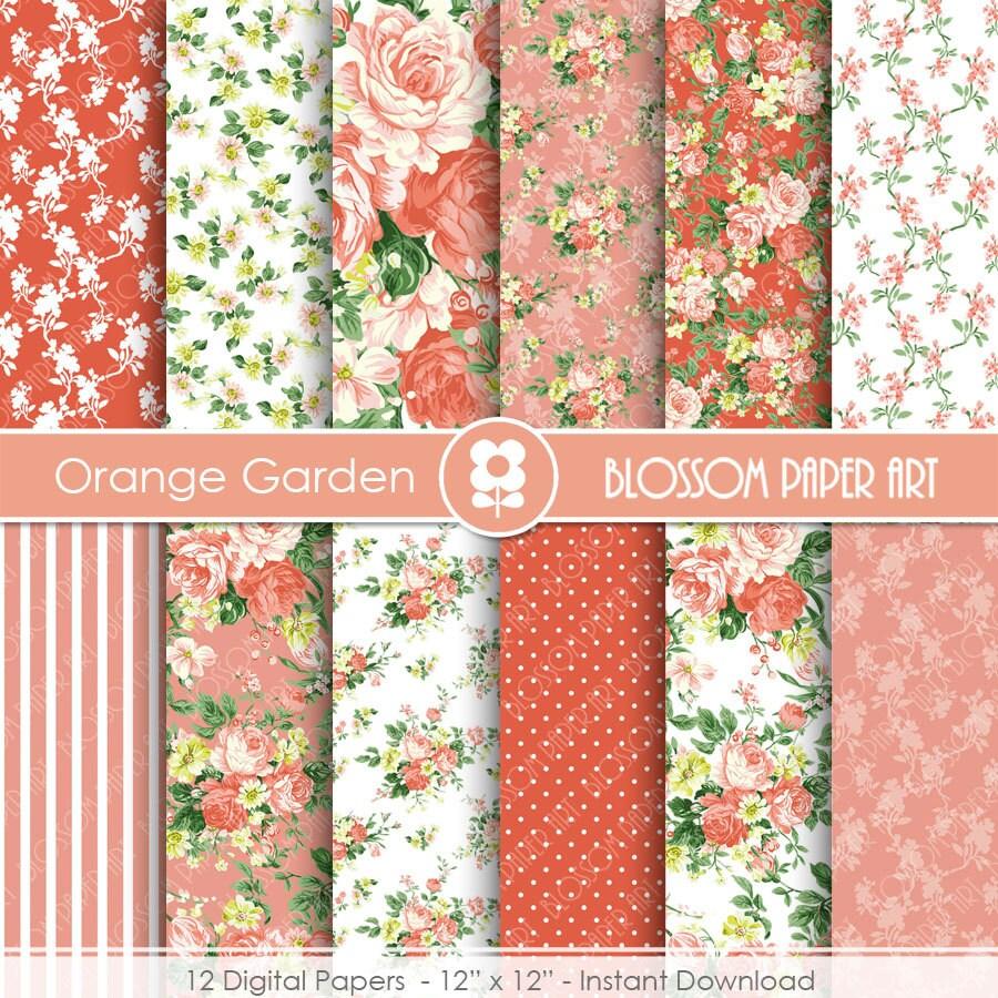 Papeles decorativos flores naranjas rosas papel digital - Papeles decorativos pared ...