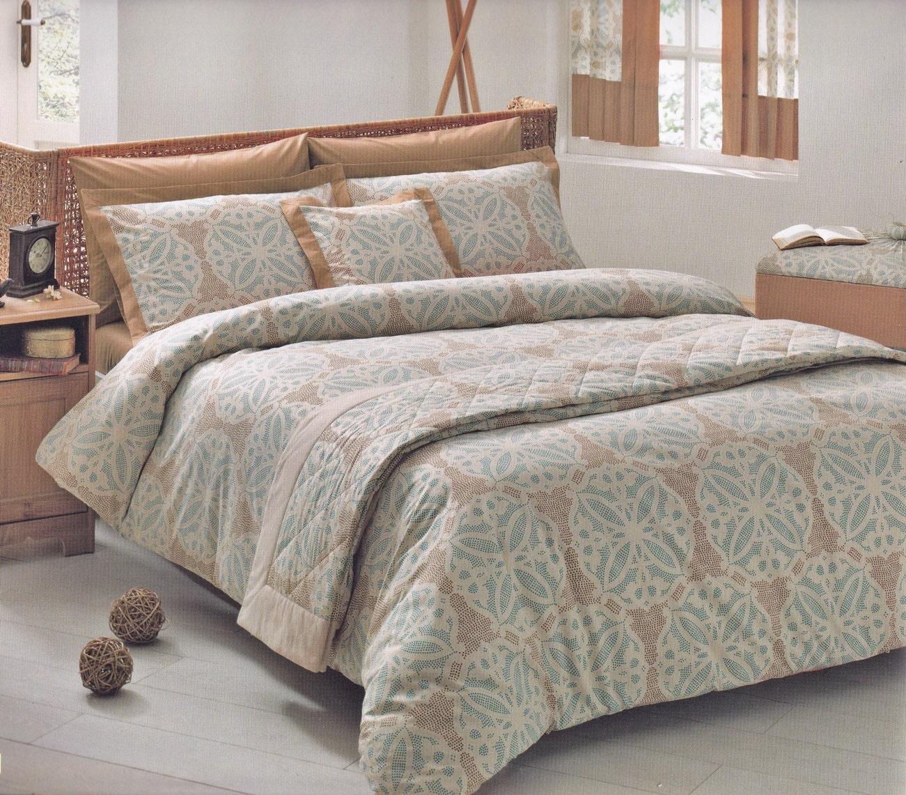 Moroccan Tile Bedding Set in Teal Blue Brown Beige by ...