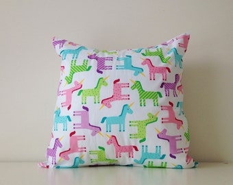 Unicorn Pillow Cover, 16x16 Inches, Polka dots, Colourful, Girls Room, Pink, Blue, Green, White, Purple, Fun Pillow Cover, Multicolour