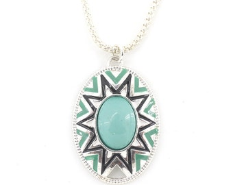 Gorgeous Silver-tone Green Stone Enamel Pendant Necklace,A11