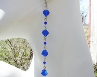 Cobalt earrings, long earrings, blue earrings, gift for her, birthday gift ideas, shoulder duster, long crystal earrings