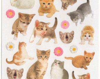 Kawaii Japan sticker Sheet Assort: La Dolce Vita Series -  Grey White Persian Tabby Kitten Photo Stickers Diy Deco Planner Schedule Book R