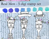 Quirky men digi stamps with hats - five image set