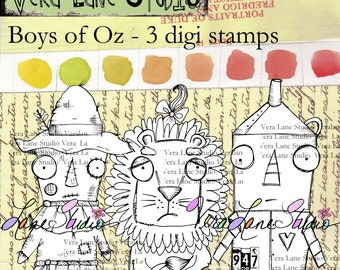 Quirky characters insired by the Wizard of OZ; scarecrow, lion and tin man - three image set REDUCED!!!!  Was 9.00 now 4.00!!!!  SALE!!!