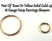 Yellow OR Rose Gold 14k solid, not plated or filled Hoop Earrings PAIR 18 Gauge Cartilage Tragus Helix Small Tiny Catchless Seamless Sleeper