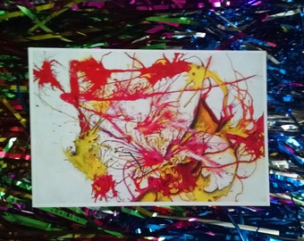 """P70 - """"First Kiss"""" Abstract Expressionism Blank Postcrossing Postcard"""