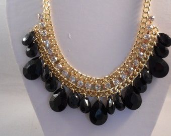 Gold Tone Chain Necklace with Clear Rhinestones and Black Teardrop Pendants