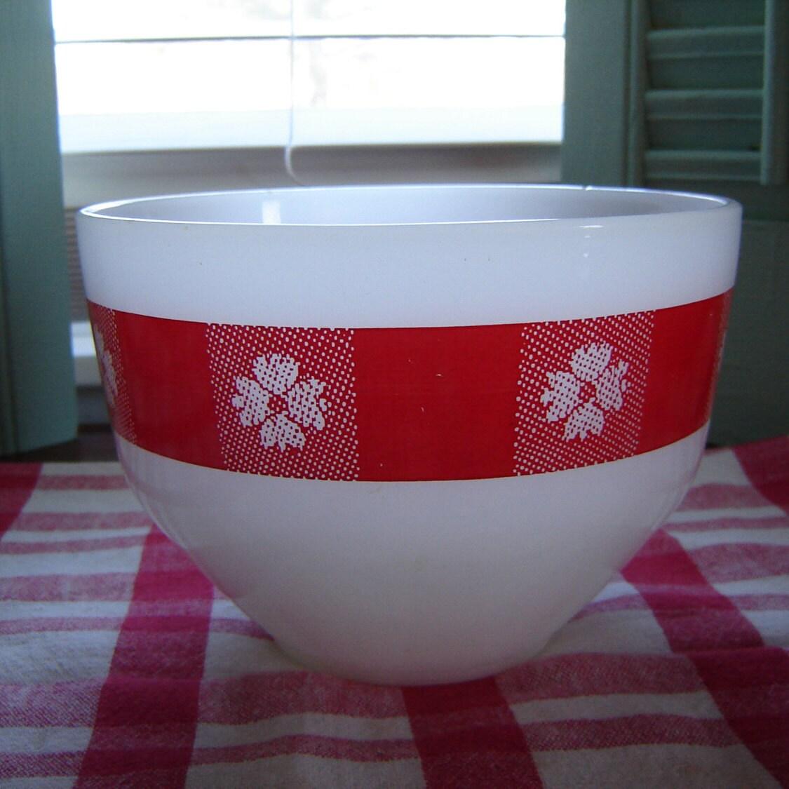 Vintage Kitchen Bowls: Vintage Bowl Red And White Kitchen Decor Retro Milkglass Bowl