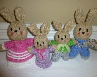 Bunnies - Knitted Rabbit Family -   - Toy - Doll