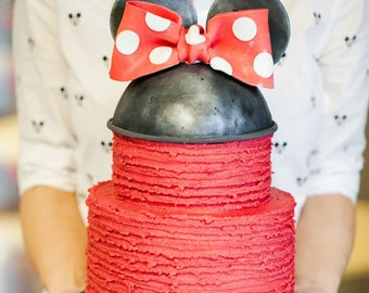 Edible MINNIE MOUSE bow, hat, ears / gum paste/fondant cake topper / ribbon cake topper (As seen in US Weekly Magazine.)