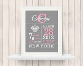 Crown Birth Announcement Print - Birth Stats Print - Custom colors