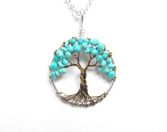 Turquoise Friendship Tree, Mini Wire Tree of Life Necklace, Friendship, Protection, Peace, Gift for friend