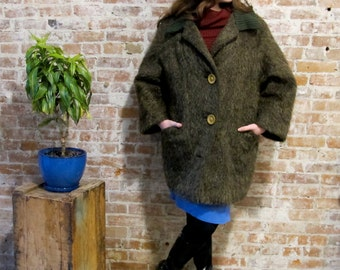 1960s Vintage 1960s Mohair Coat - Made In Italy - Warm Coat - Knit Collar - Wool Mohair Blend - Winter Coat - Mad Men