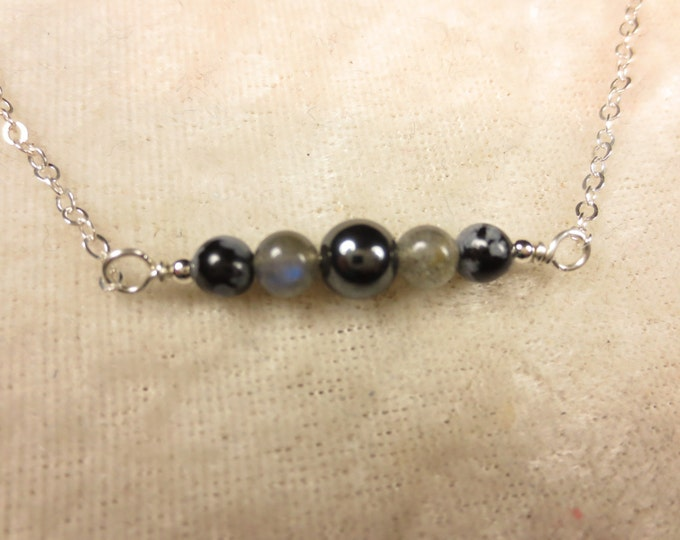 Hematite Necklace - Labradorite Necklace - Snowflake Obsidian Necklace - Dainty Necklace - Layering Necklace - 4 & 6 mm - Sterling Silver