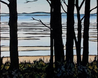 Six Trees Parkers Beach, Linocut Hand Painted, Tree Silhouette, Beach Scene Linoprint, Australia