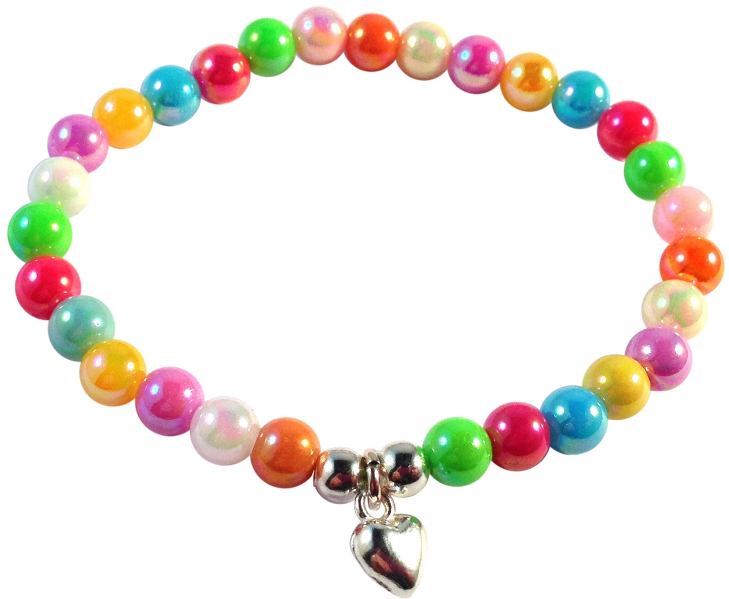 charm bracelet with pastel rainbow by doublehjewellery
