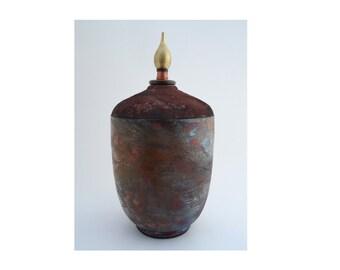 Raku Ceramic Urn Lidded Pot with finial