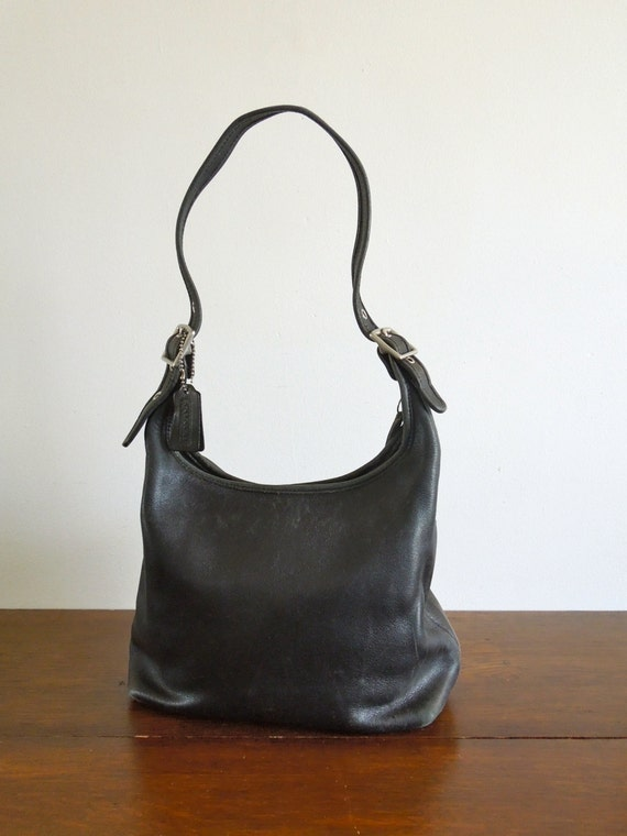 vintage coach bag black leather hobo style. Black Bedroom Furniture Sets. Home Design Ideas