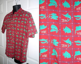 Vintage 80s Reyn Spooner shirt / button up short sleeve Hawaiian / novelty print fish / red teal / marlin dolphin ...  L XL   / chest 48