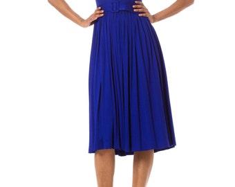 1950s Vintage Bright Blue Pleated Sleeveless Dress Size: XS/S