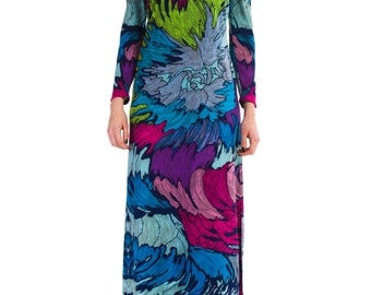 1980s Vintage Maxi Dress with Abstract Print  Size: S/M