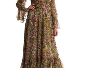 1970s Vintage Glamorous Gypsy Dress  Size: XS/S
