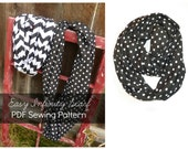 Sewing PATTERN Easy Infinity Scarf or Loop Scarf-  PDF - Instant Download