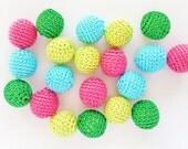 Crochet beads, 20pcs 18mm (0.71 inch) Handmade round crochet beads (71)