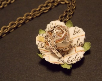 Love Note Paper Rose Necklace