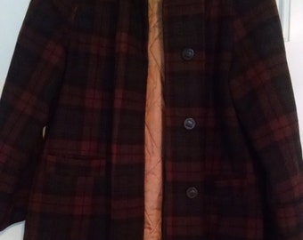 Vintage 60s Women's Brown and Black Plaid Jacket