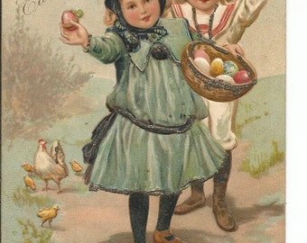Antique Little Girls Easter Postcard Easter Eggs Holiday Greeting
