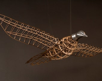 Passenger Pigeon Sculpture - wood cast aluminum - model airplane style