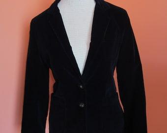 Vintage Black Velvet Women's Blazer by TomBoy LeSport Glam Slim Fit S M