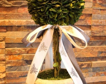 Boxwood Topiary with Bee Ribbon