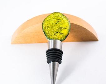 Unique Gold Wine Stopper - Fused Glass - Dichroic Cabochon - Wine Stopper Holder - Wine Accessories - Modern Barware - Wine Lover Gift
