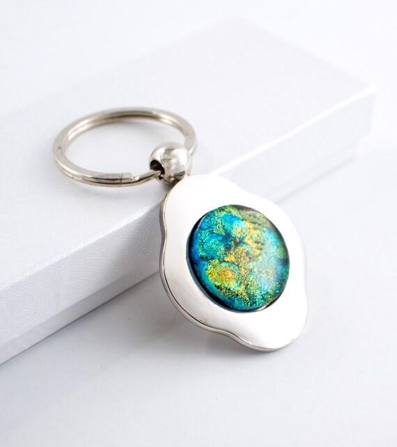 unique key chain silver key ring 4 leaf clover by
