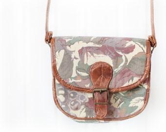 Vintage 90s floral canvas bag hand bag crossbody bag shoulder bag