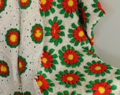 Hand Made Vintage Christmas Afghan with fringed edge