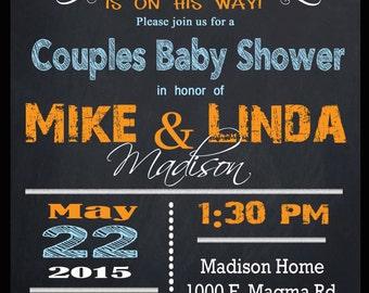 COUPLES BABY SHOW invitation - chalkboard little peanut elephant, Print at Home, diy