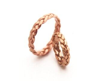 rose gold wedding bands women rose gold wedding ring braided gold ring 14k