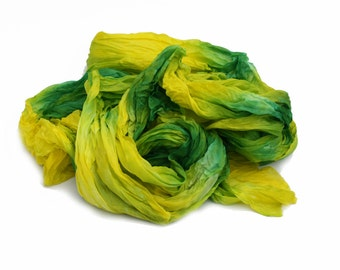 yellow scarf, green silk scarf - Mimosa - light green, yellow silk scarf.