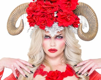 RED,Rose,Ram,Horns,Crown,Fascinator,Hat,Headdress,Headpiece,Fairy,Hat,Fascinator,Crown