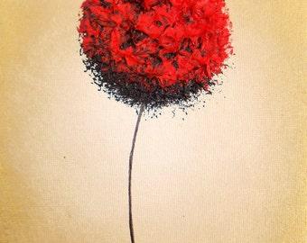 Abstract Art Flower Art, Giclee Print of Modern Art Red Flower, Valentine's Day Gift, Art Print of Oil Painting, Gift of Love, Red Wall Art