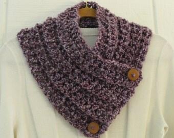 Crochet Button Cowl Scarf Mauve Dusty Purple Wood Buttons Neckwarmer Scarflette