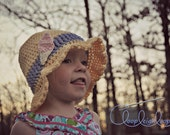 PDF Crochet Pattern Little Miss Sun Hat with appliques baby to toddler girls