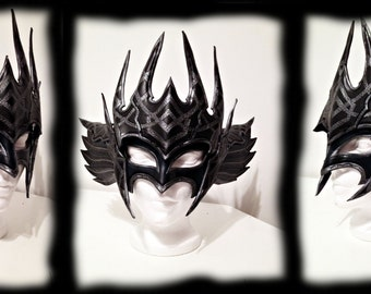 Dark Valkyrie Leather Mask, larp, larping, leather, armor, armour, armure, mask, fatasy, fantastic
