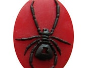 1 Piece Red Black Widow Spider Gothic Inspired Cameo Cabochon Oval Flatback 40x30 mm Resin Arachnids Corss Diadem